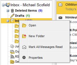 Context menu of a folder
