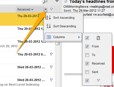 Context menu from a mail view column