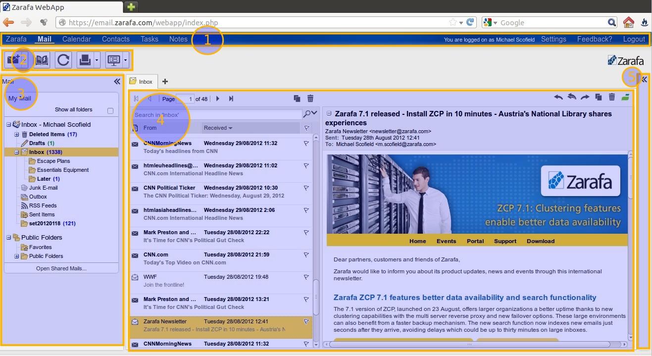 Main areas in WebApp