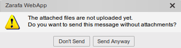 Attachments upload warning